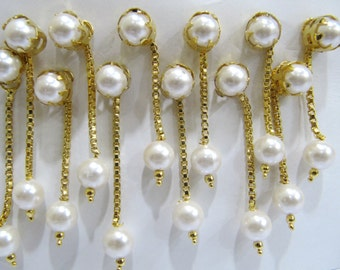 Unique Pearl Earrings with 24 Kt Gold Plating, Vermeil jewelry , Round Synthetic Pearl Beaded Earrings, sold per Pair in Unmatched Prices