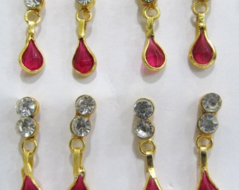 Exotic Ruby earrings/Studded Jewelry Gold Plated / Earring with Crystal Briolettes / Unbelievable Prices