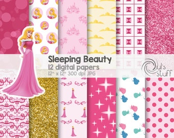 "Aurora, Sleeping Beauty digital paper pack, instant download, 12"" x 12"""