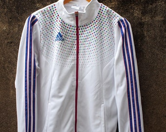 ADIDAS Women Jacket Large Vintage 90's Adidas Equipment Polka Dot Workout Trainer White Sweater Zipper Jacket Windbreaker Size L