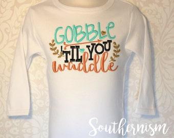 Thanksgiving Shirt, Turkey Day Shirt, Personalized Thanksgiving, Fall Shirt, Turkey, Gobble til you waddle, girls thanksgiving