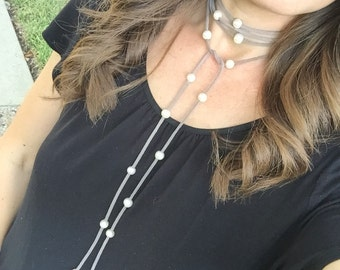 Long gray faux suede wrap choker necklace with fresh water pearls // Fast & free shipping