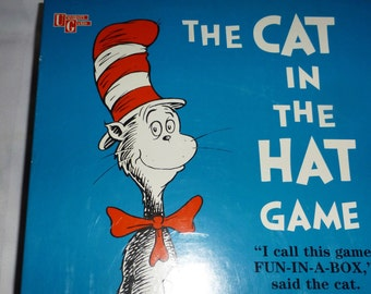 Vintage (c.1996) The Cat in the Hat board game published by University Games.  Based on the popular Dr. Seuss kids' books/character.