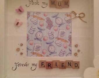 First my mum forever my friend frame, mum frame, mum scrabble frame, mum wall art, mum birthday gift, mum christmas gift, mothers day gift