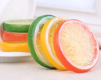 10pcs Resin lemon slices charm Fruits slices Cabochons Kawaii diy hair accessories jewelry supplies