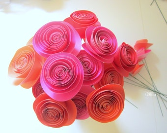 Paper Flower Bouquet -  Stemmed Flowers Table Decor - Wedding - Bridal  - Home decor - 12 flowers / 24 flowers