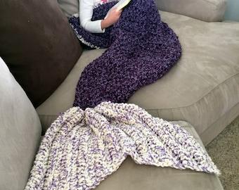 Mermaid Tail Blanket, Mermaid Blanket Adult, Crochet Mermaid, Purple Mermaid, Mermaid Blanket Child, Adult Mermaid Blanket, Gift for Her,