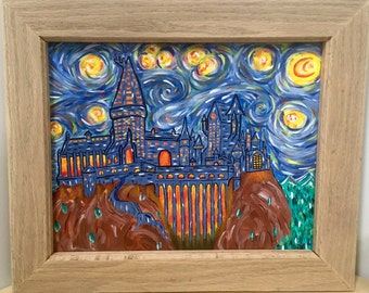 Harry Potter painting The Starry Night Hogwarts