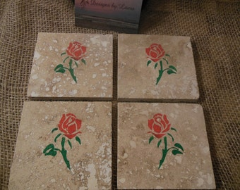 Red Roses on Travertine