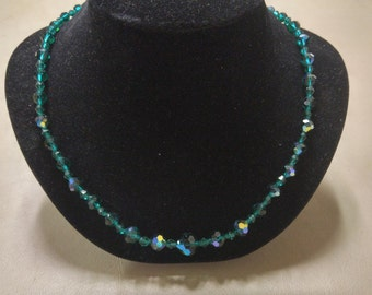 Vintage Faceted AB Glass Bead Necklace.