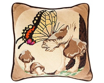 Cross Stitch Butterfly Scenic Pillow