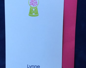 Personalized Stationery with Gumballs