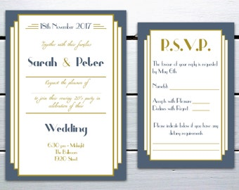 Printable Art Deco 1920s Great Gatsby Inspired Navy Blue and Gold Wedding Invitation and RSVP Card