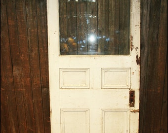 Vintage WOOD DOOR w Window 4 paned paneled wooden front glass achitectural salvage table top pane white chippy paint base frame 14210