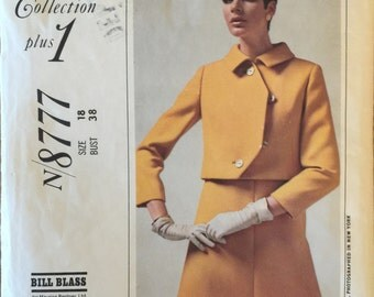 """VTG 8777 McCalls (1967) New York Designers' Collection dress & jacket. Size 16, Bust 38"""". Complete, unused, neatly cut. Excellent condition."""