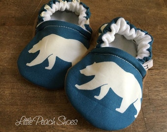 Bear baby shoes | Organic baby shoes | Handmade baby shoes | Baby boy shoes | Neutral baby shoes | Blue baby shoes | Baby girl shoes