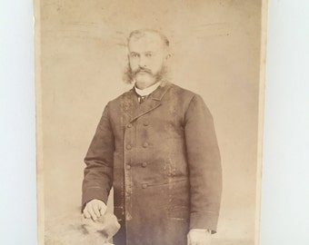 portrait of a gentleman - black and white photo - cardboard cabinet card - mutton chops - new york city history - turn of the century