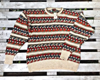 MENS BOSTON TRADERS FUnky Geometric Hipster Casual Soft warm sweater size medium