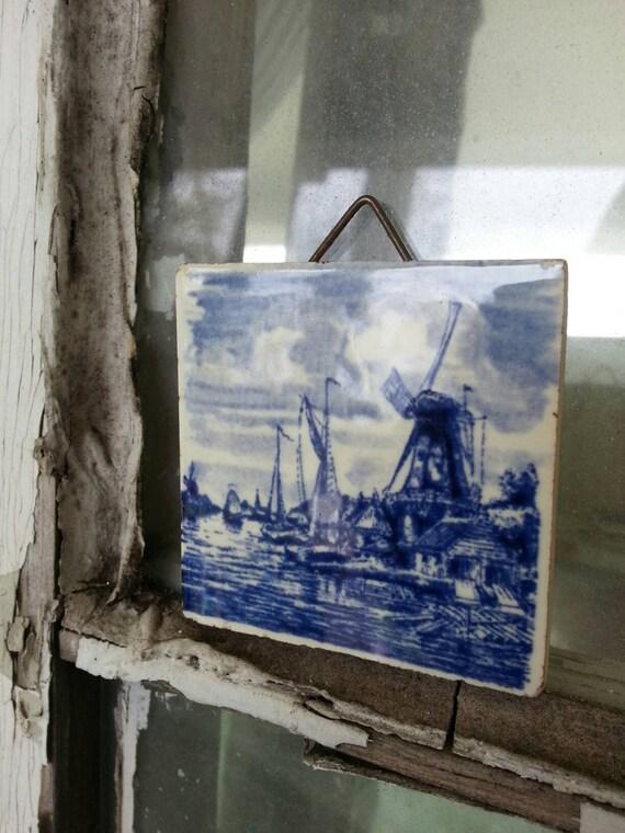 Vintage Delft Tile Home Decor Cobalt Blue Windmill