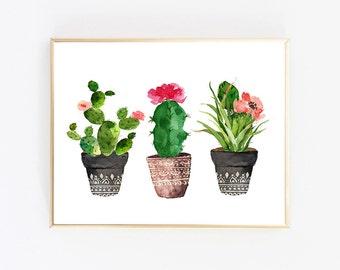 Succulent Print, Cactus Print, Downloadable Prints, Printable Art, Watercolor Print, Wall Decor Living Room, Digital Download Print, Poster