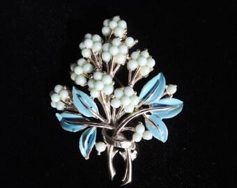 Mid Century Blue Flower Bouquet Brooch