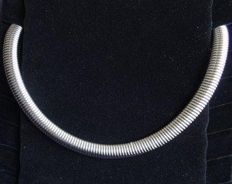 Flexible Metal Collar Choker Necklace Mid Century Industrial