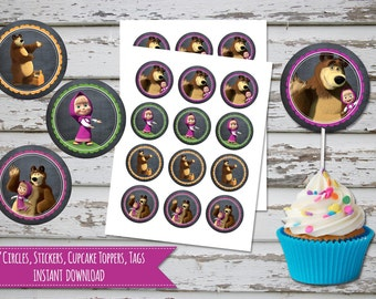 Masha and the bear Cupcake Toppers Masha and the bear Birthday Masha and bear Toppers Masha and the bear Favour Tags INSTANT DOWNLOAD