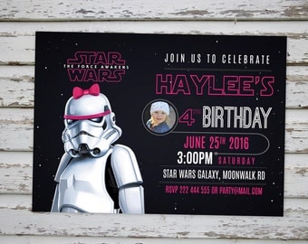 Star Wars Girls Invitation, Stormtrooper Pink Party Invitation, Stormtrooper Invitation, Star Wars Pink Girls Birthday Invite DIGITAL FILE