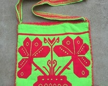 """Huichol morral neon crossbody huichol bag 12""""x 12"""". Strap is 45"""" long can be knotted to shortened."""