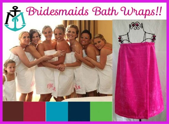 BRIDESMAIDS GIFT Bridesmaids Bath Wraps Monogrammed Bath