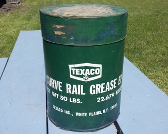 Vintage Large 50LB Heavy Cardboard Texaco Curve Rail Grease Oil Can Garage Service Gas Station  Deco