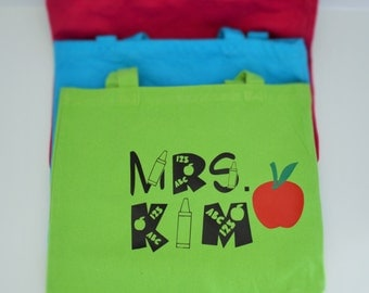 Canvas Tote personalized for a Teacher