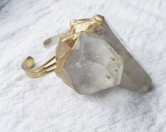 Raw Quartz Crystal Ring| Crystal Ring | Rock Ring | Stocking Stuffer | Gifts For Her | Feminist Gifts | Feminist Jewelry | Unique Gifts |