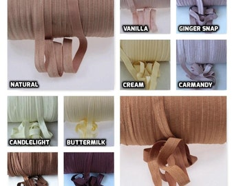 FOE Fold Over Elastic - Solid Colours by the Metre - Neutral Cream and Brown Tones