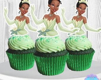 Princess TIANA Cupcake Toppers, Cupcake Picks,  INSTANT DOWNLOAD