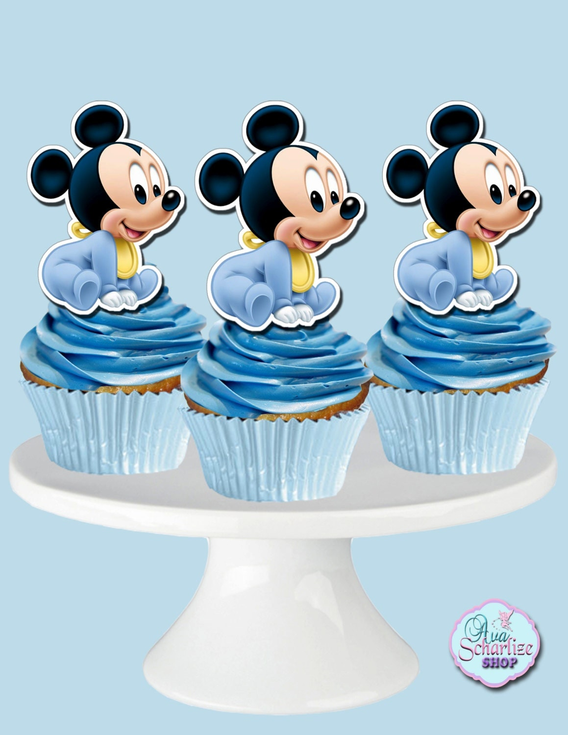 Cake Toppers Baby Mickey : Baby Mickey Mouse Cupcake Toppers Cupcake Picks DIGITAL FILE