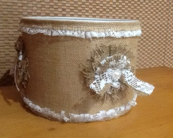 NEW Burlap & Lace Rustic handcrafted Drum Lamp Shade