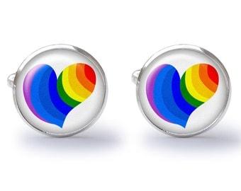 Rainbow Heart Cufflinks - Rainbow Cufflink Cuff Links - Rainbows Hearts (Pair) Lifetime Guarantee