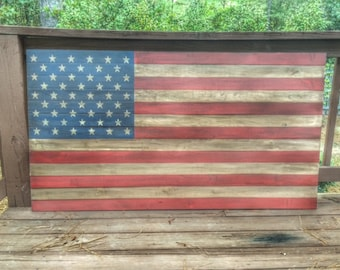 Distressed Wooden American Flag 60x33