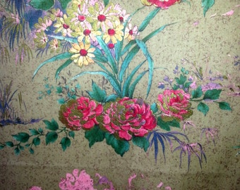 Beautiful vintage designed Curtain / drape with flowers in high quality and wonderful colors.