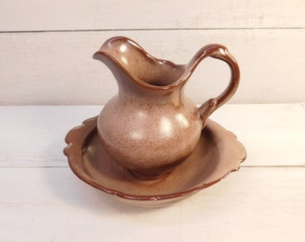 Vintage Brown Satin Frankoma Pitcher 40A & Bowl 40B, Oklahoma Pottery