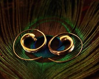 Fluted Shell Spiral Brass Earrings