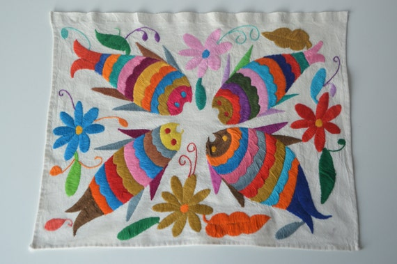 Tissu mexicain organique | Tissu mexicain Otomi | tissu tribal | brodé | Mexican brodé |  MexicanTextiles | Set de table mexicaine