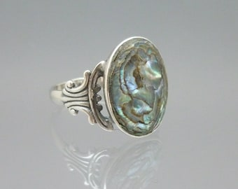 Vintage Sterling Silver and Abalone Shell Ring Size 5 3/4