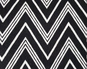 Black and White Felt-Chevron Print Fabric by the Yard