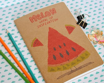 Melon words of inspiration a5 notebook/sketchbook