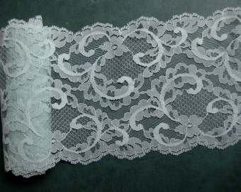 "Vintage Wide Lace Trim Light Mint Green Scalloped Edges 5"" wide 2 Pieces 2 1/3 yards Total"