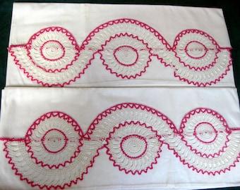 "Vintage BEAUTIFUL Pr. Hand Crochet Pillow Cases with Pink & White Hand Crochet Edges 21"" x 31"" + 6"" Crochet"