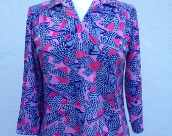 Vintage 1970's Pink and Blue Blouse *  Shirt *  Size Small Medium