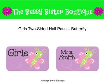 Girls Hall Pass with Butterfly